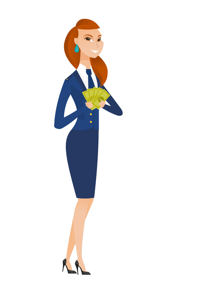 Caucasian stewardess holding money. Excited stewardess standing with money in hands. Full length of young smiling stewardess with money. Vector flat design illustration isolated on white background.