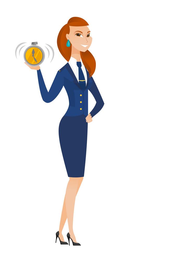 Caucasian stewardess showing ringing alarm clock. Full length of young stewardess with alarm clock. Happy stewardess holding alarm clock. Vector flat design illustration isolated on white background.