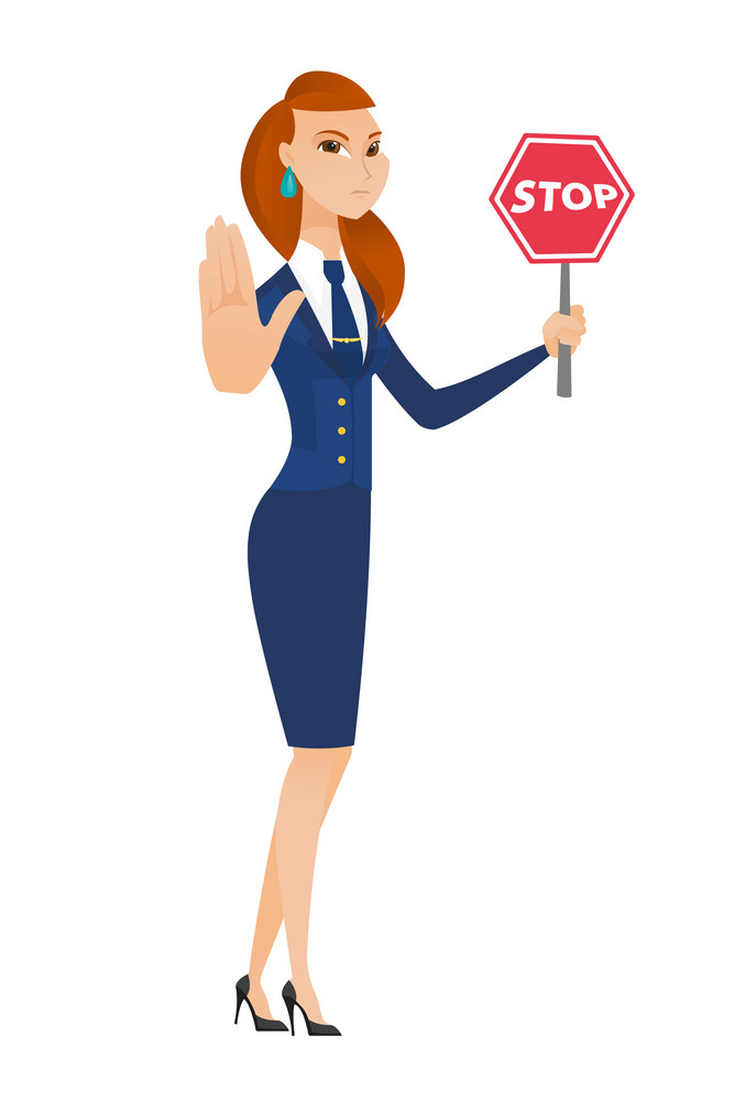 Caucasian stewardess showing stop road sign. Full length of stewardess holding stop road sign. Serious stewardess with stop road sign. Vector flat design illustration isolated on white background.