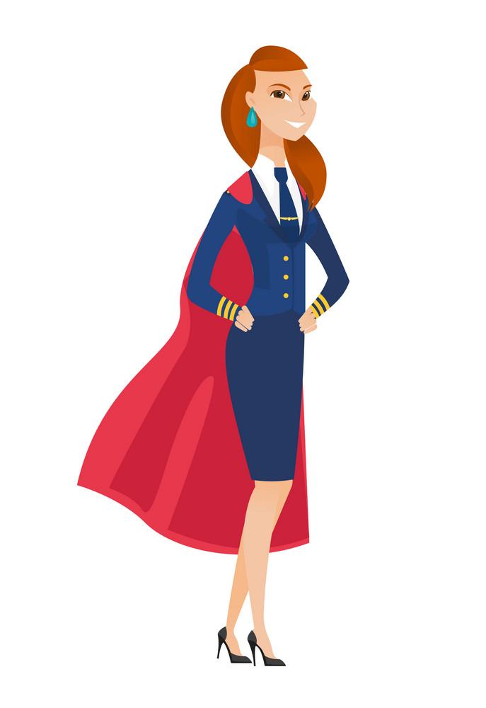 Caucasian stewardess wearing red superhero cloak. Full length of stewardess dressed as superhero. Young stewardess superhero in red cloak. Vector flat design illustration isolated on white background.