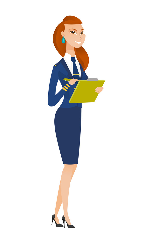 Caucasian stewardess writing notes in list of passengers. Stewardess checking list of passengers. Stewardess holding list of passengers. Vector flat design illustration isolated on white background.