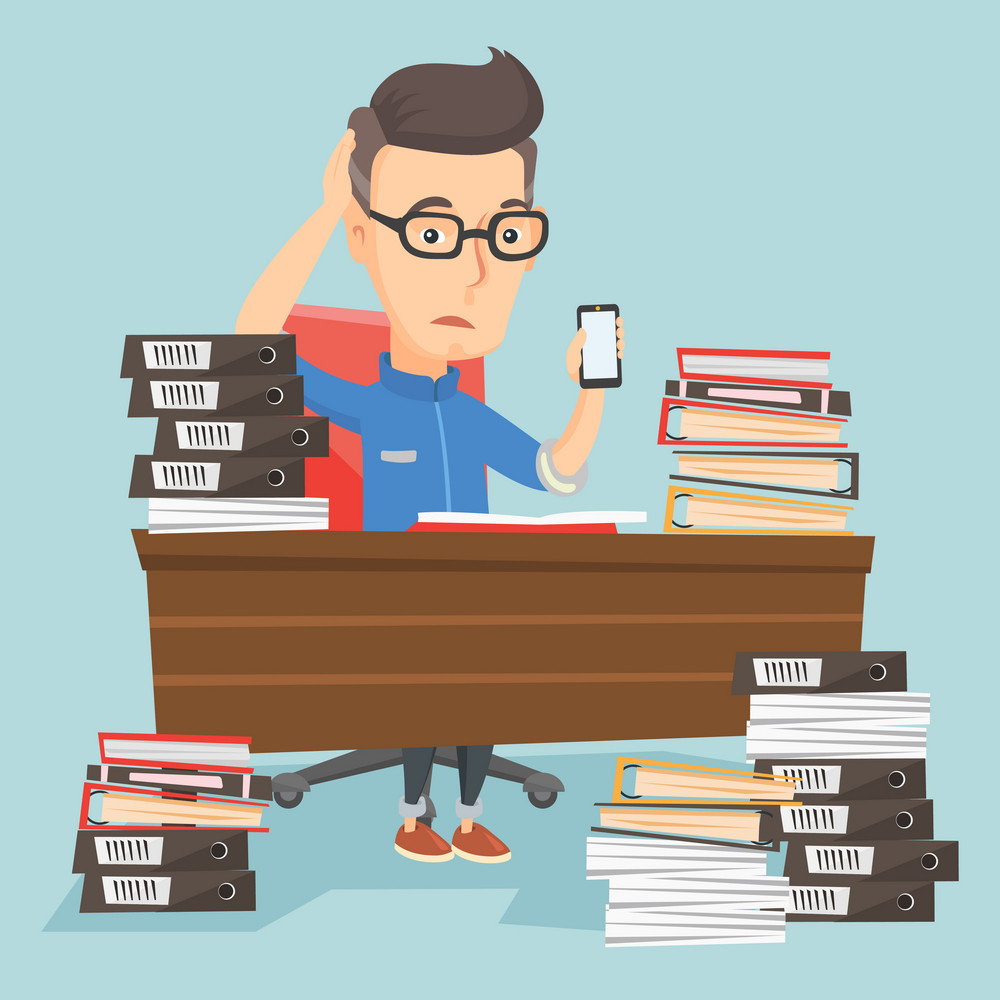 Caucasian stressed office worker. Overworked man feeling stress from work. Stressful employee sitting at workplace. Stress at work concept. Vector flat design illustration. Square layout.