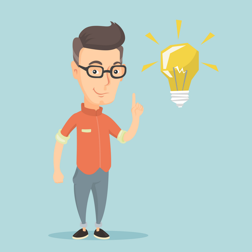 Caucasian student pointing his finger up at the idea bulb. Young excited student with bright idea bulb. Smart smiling student having a great idea. Vector flat design illustration. Square layout.
