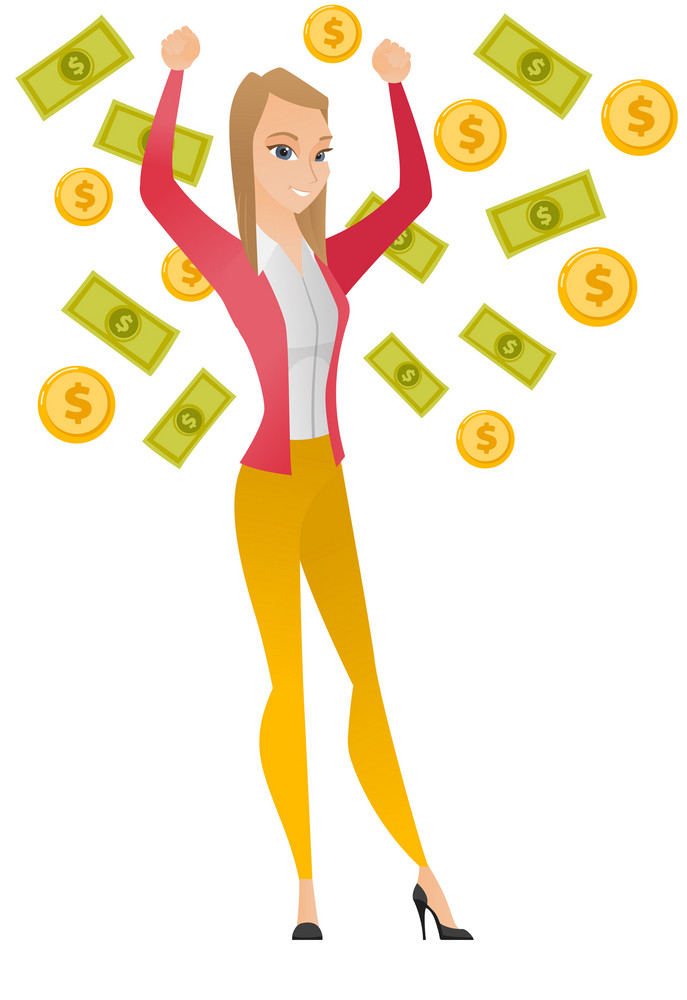 Caucasian successful business woman standing with raised hands under money rain. Young excited business woman enjoying a rain of money. Vector flat design illustration isolated on white background.