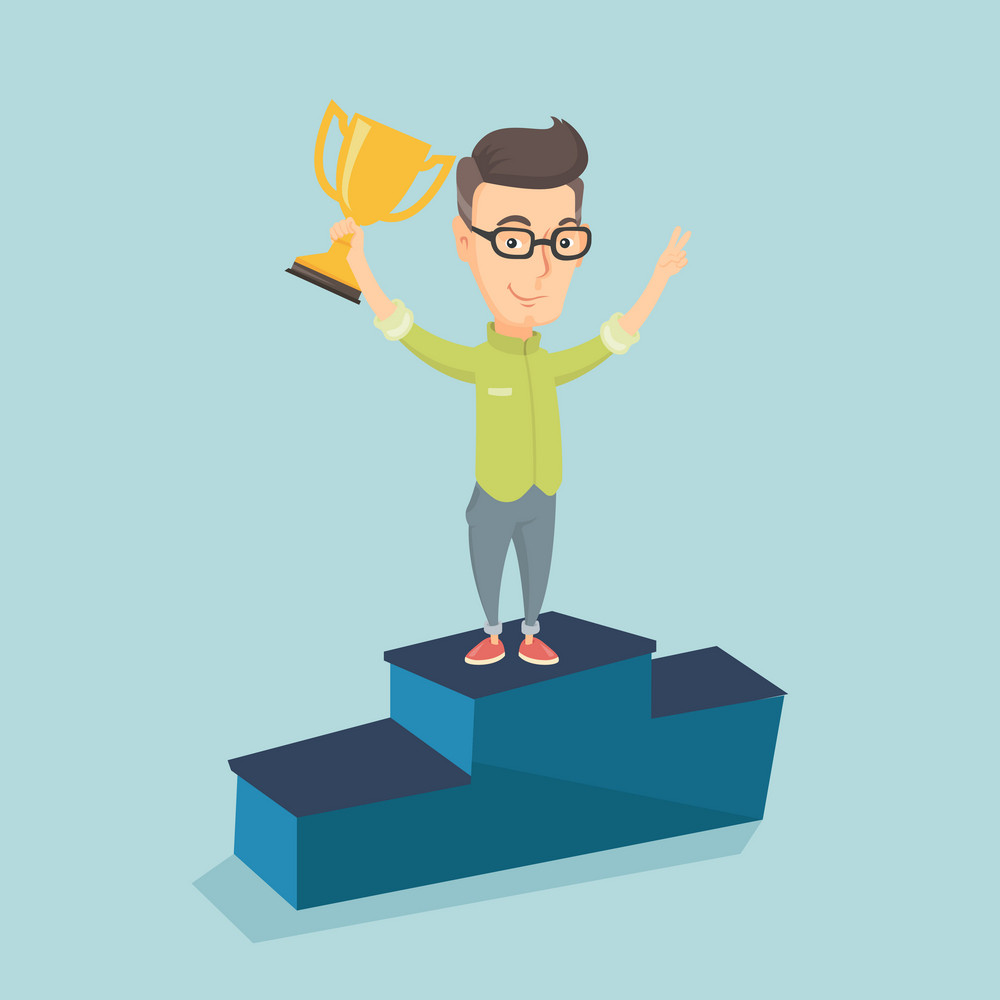 Caucasian successful businessman with business award standing on a pedestal. Cheerful businessman celebrating his business award. Business award concept. Vector flat design illustration. Square layout