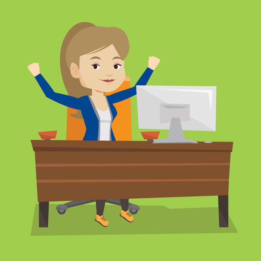 Caucasian successful businesswoman celebrating at workplace. Successful business woman celebrating business success. Successful business concept. Vector flat design illustration. Square layout.