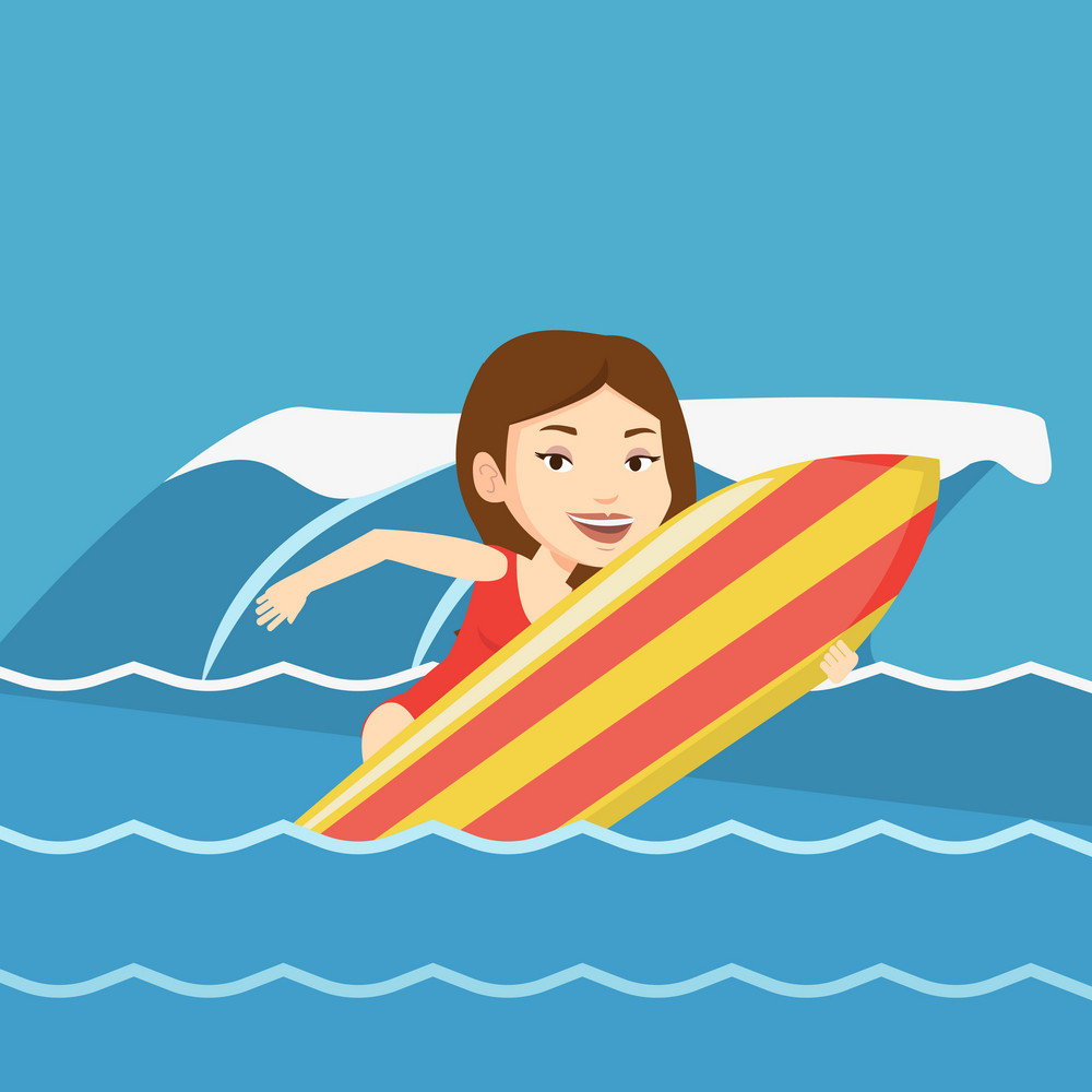 Caucasian surfer having fun during execution of a move on a blue ocean wave. Young surfer in action on a surf board. Lifestyle and water sport concept. Vector flat design illustration. Square layout.