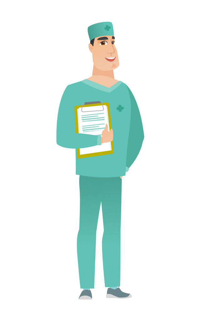 Caucasian surgeon in uniform holding clipboard with papers. Full length of surgeon with papers. Young smiling surgeon holding papers. Vector flat design illustration isolated on white background.