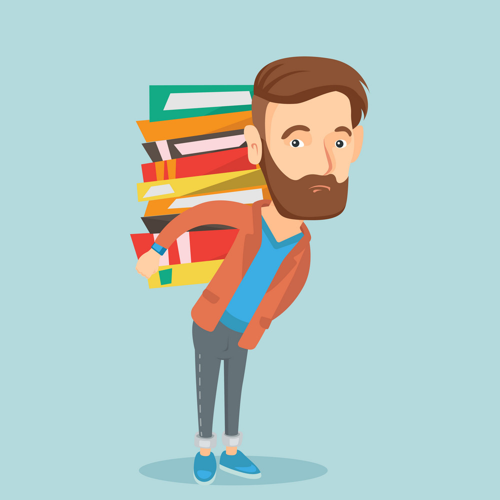 Caucasian tired student carrying a heavy pile of books on his back. Sad student walking with huge stack of books. Student preparing for exam with books. Vector flat design illustration. Square layout.