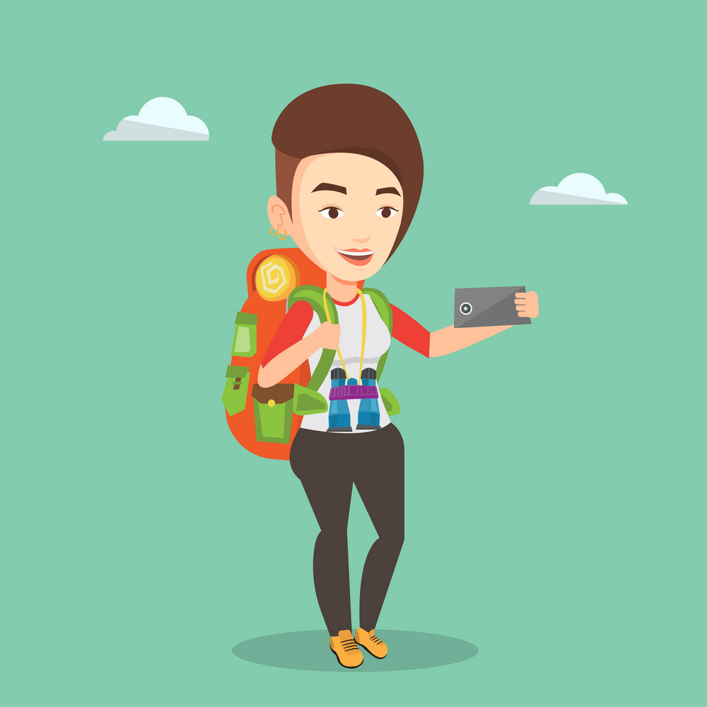 Caucasian tourist making selfie. Tourist with backpack and binoculars taking selfie with cellphone. Young happy tourist taking selfie during summer trip. Vector flat design illustration. Square layout