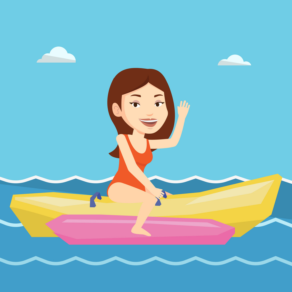 Caucasian tourists riding a banana boat and waving hand. Young woman having fun on banana boat in the sea. Smiling woman enjoying ride on banana boat. Vector flat design illustration. Square layout.