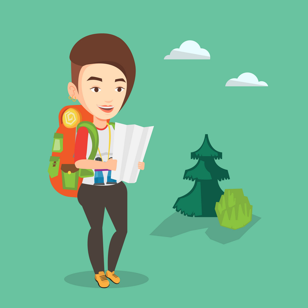 Caucasian traveler exploring the map. Young smiling traveler with backpack and binoculars looking at map. Traveler searching right direction on a map. Vector flat design illustration. Square layout.