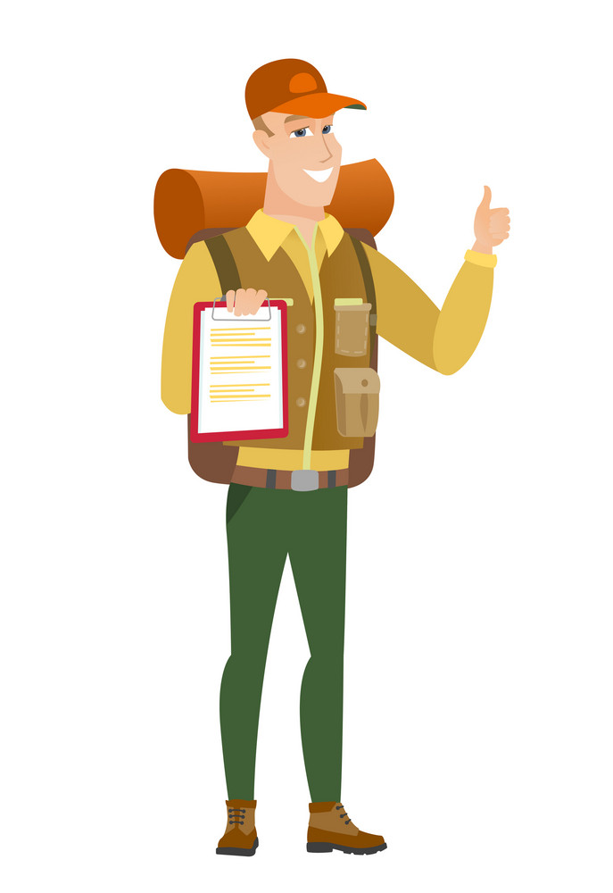 Caucasian traveler holding clipboard and giving thumb up. Full length of traveler with clipboard. Traveler showing clipboard and thumb up. Vector flat design illustration isolated on white background.