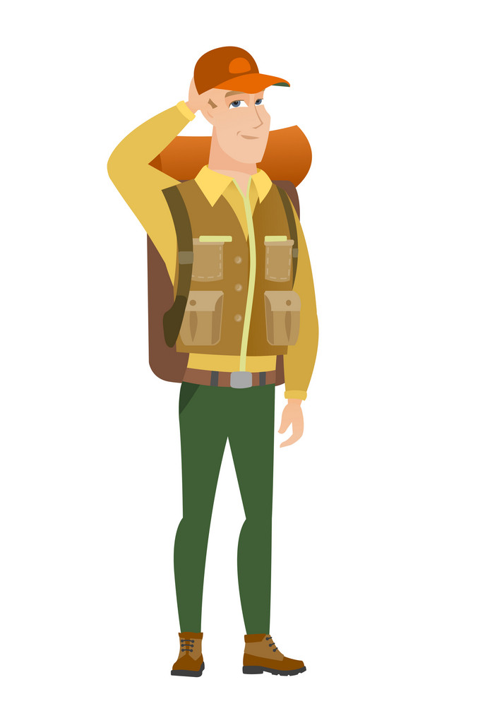 Caucasian traveler scratching his head. Full length of thoughtful traveler scratching head. Puzzled traveler scratching his head. Vector flat design illustration isolated on white background.