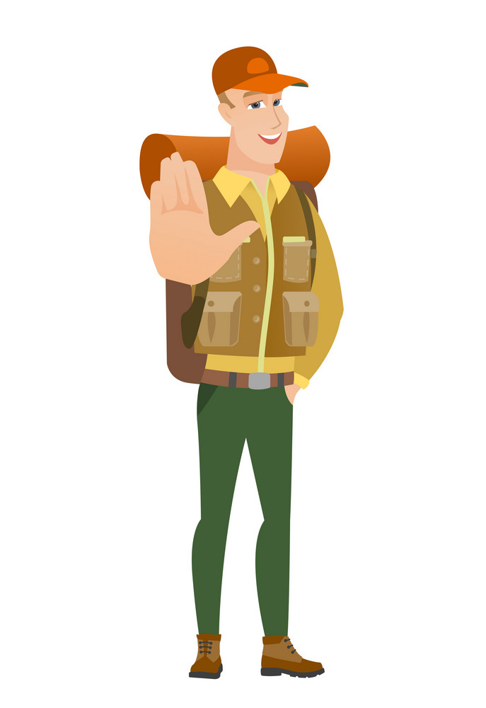 Caucasian traveler showing palm hand. Full length of young traveler showing palm hand. Traveler making stop gesture by his palm. Vector flat design illustration isolated on white background.