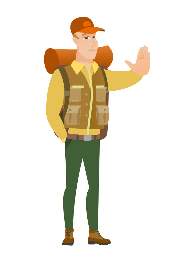 Caucasian traveler showing stop hand gesture. Full length of traveler doing stop gesture. Serious traveler with a stop gesture. Vector flat design illustration isolated on white background.