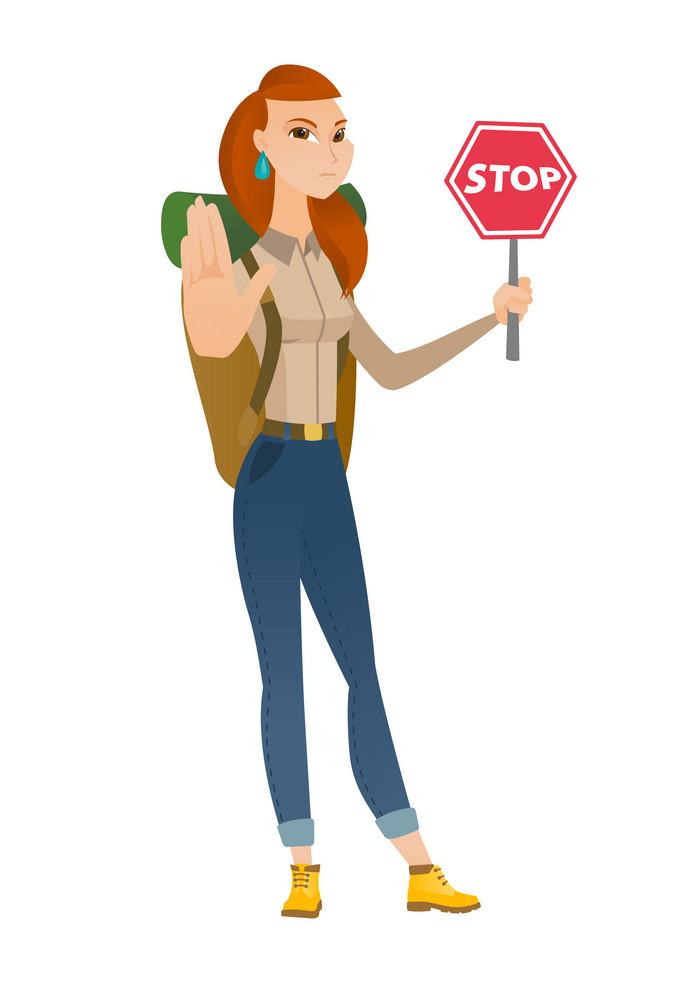 Caucasian traveler showing stop road sign. Full length of young traveler holding stop road sign. Serious traveler with stop road sign. Vector flat design illustration isolated on white background.