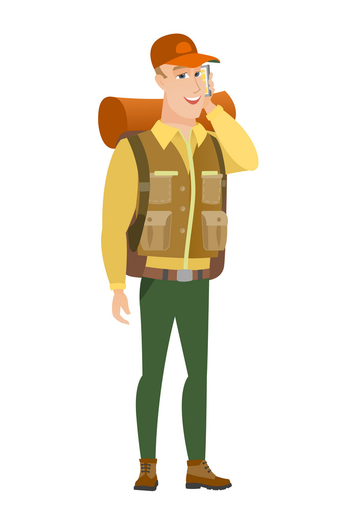 Caucasian traveler talking on a mobile phone. Young smiling traveler talking on cell phone. Traveler using cell phone. Vector flat design illustration isolated on white background.