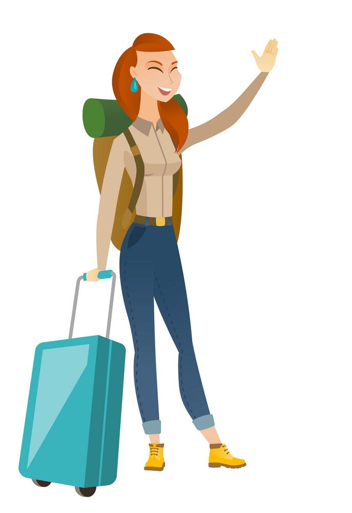 Caucasian traveler waving hand. Full length of traveler holding suitcase and waving hand. Traveler making greeting gesture - waving hand. Vector flat design illustration isolated on white background.