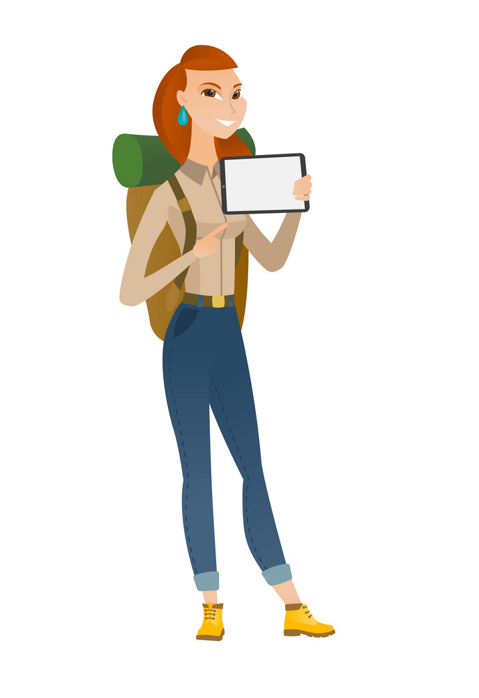 Caucasian traveler woman holding tablet computer. Full length of traveler pointing at tablet computer. Traveler with tablet computer. Vector flat design illustration isolated on white background.