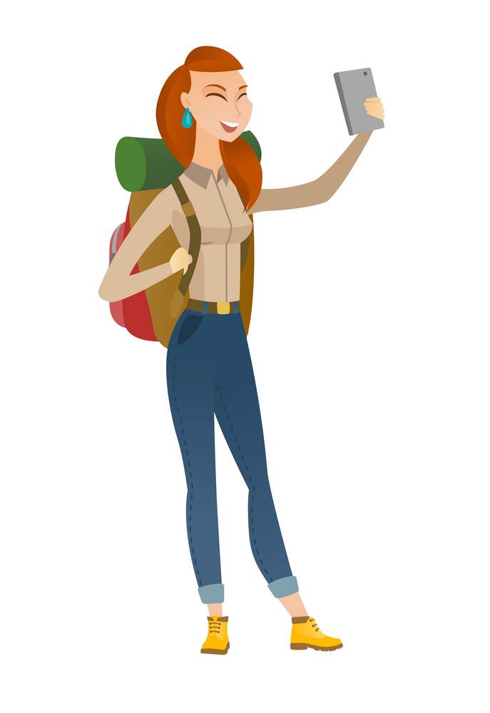 Caucasian traveler woman making selfie. Traveler woman with backpack taking selfie with cellphone. Traveler taking selfie during trip. Vector flat design illustration isolated on white background.