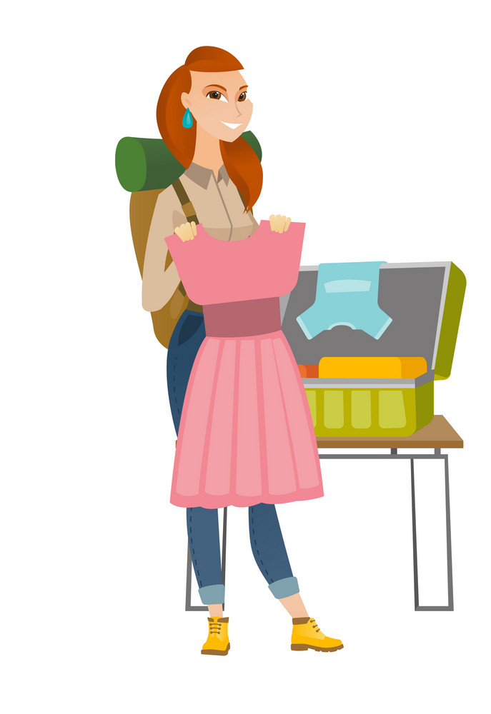 Caucasian traveler woman putting dress into suitcase. Traveler woman packing clothes in an opened suitcase. Woman preparing for vacation. Vector flat design illustration isolated on white background.