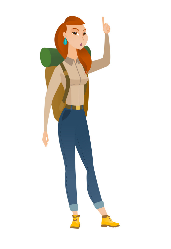 Caucasian traveler woman with open mouth pointing finger up. Full length of young traveler with open mouth came up with successful idea. Vector flat design illustration isolated on white background.