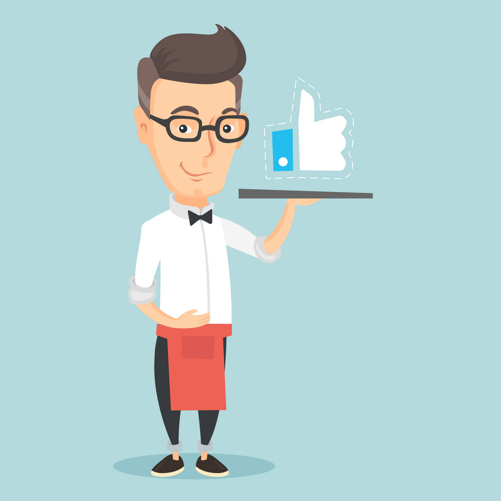 Caucasian waiter carrying tray with social network like button. Waiter holding restaurant tray with like button. Waiter with social network button. Vector flat design illustration. Square layout.