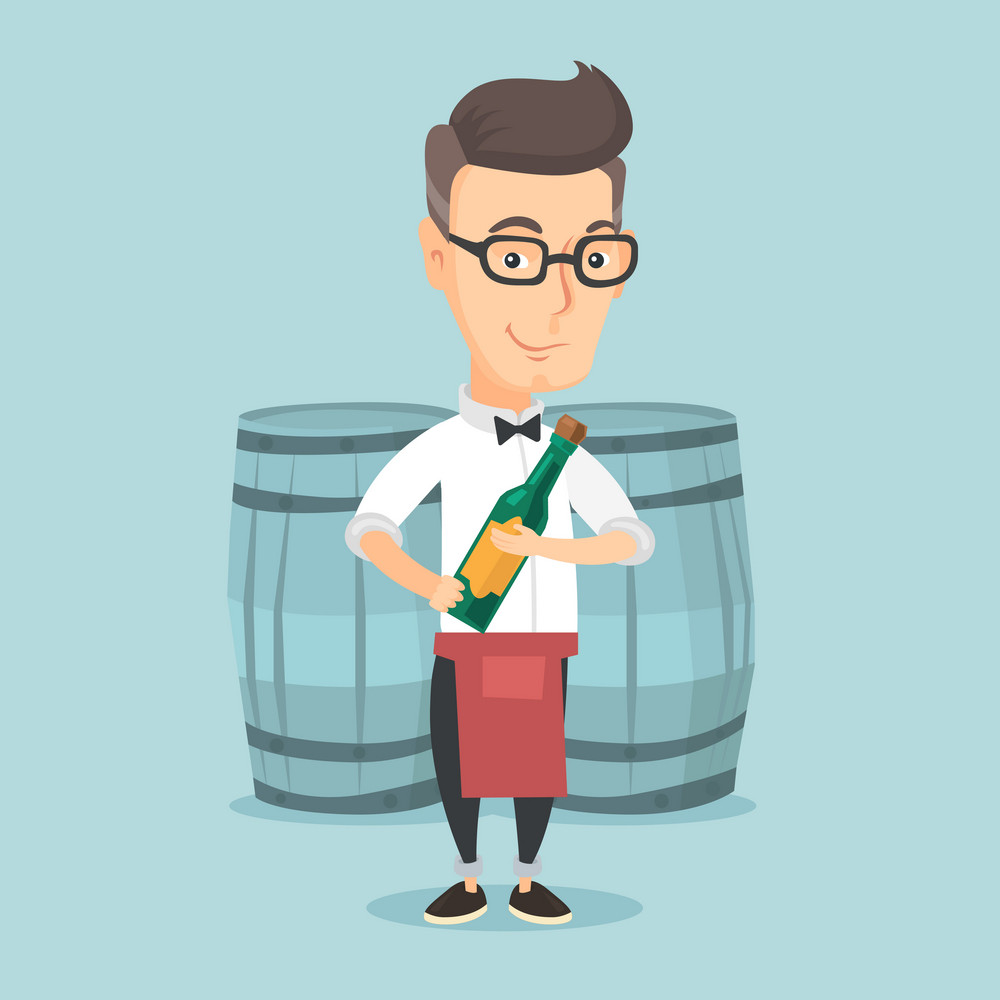 Caucasian waiter holding a bottle of wine. Waiter with bottle in hands standing on the background of wine barrels. Waiter presenting a wine bottle. Vector flat design illustration. Square layout.