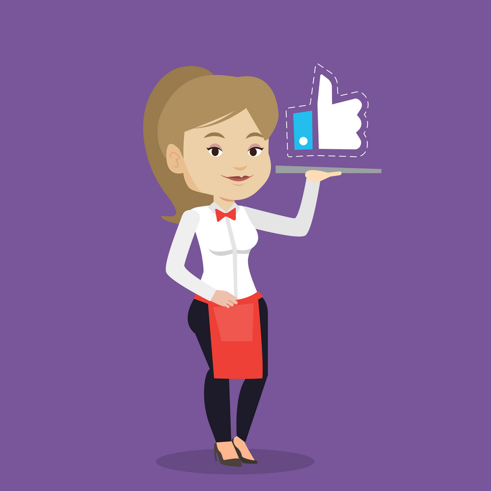 Caucasian waitress carrying tray with social network like button. Waitress holding restaurant tray with like button. Waitress with social network button. Vector flat design illustration. Square layout