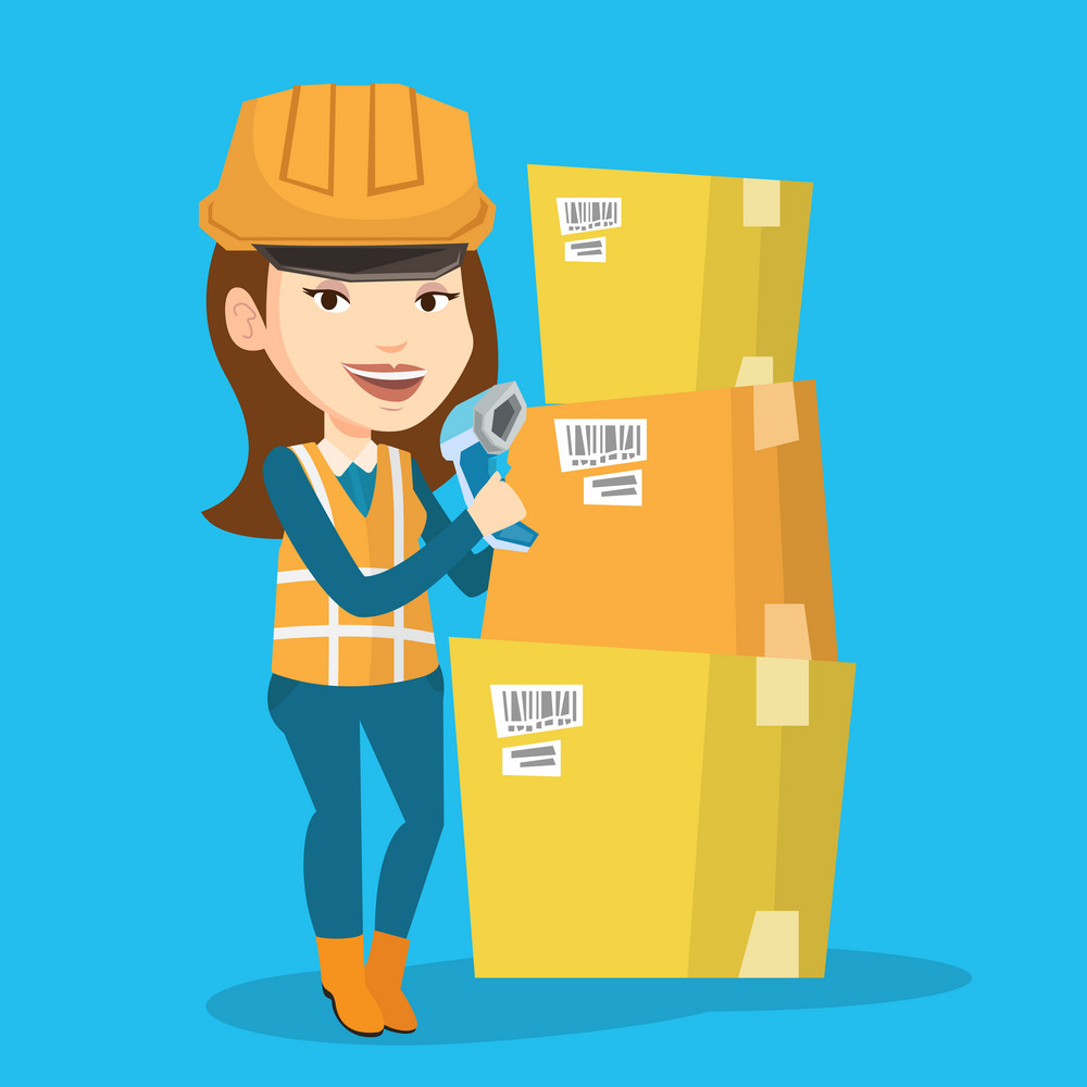 Caucasian warehouse worker scanning barcode on box. Warehouse worker checking barcode of box with a scanner. Warehouse worker in hard hat with scanner. Vector flat design illustration. Square layout.