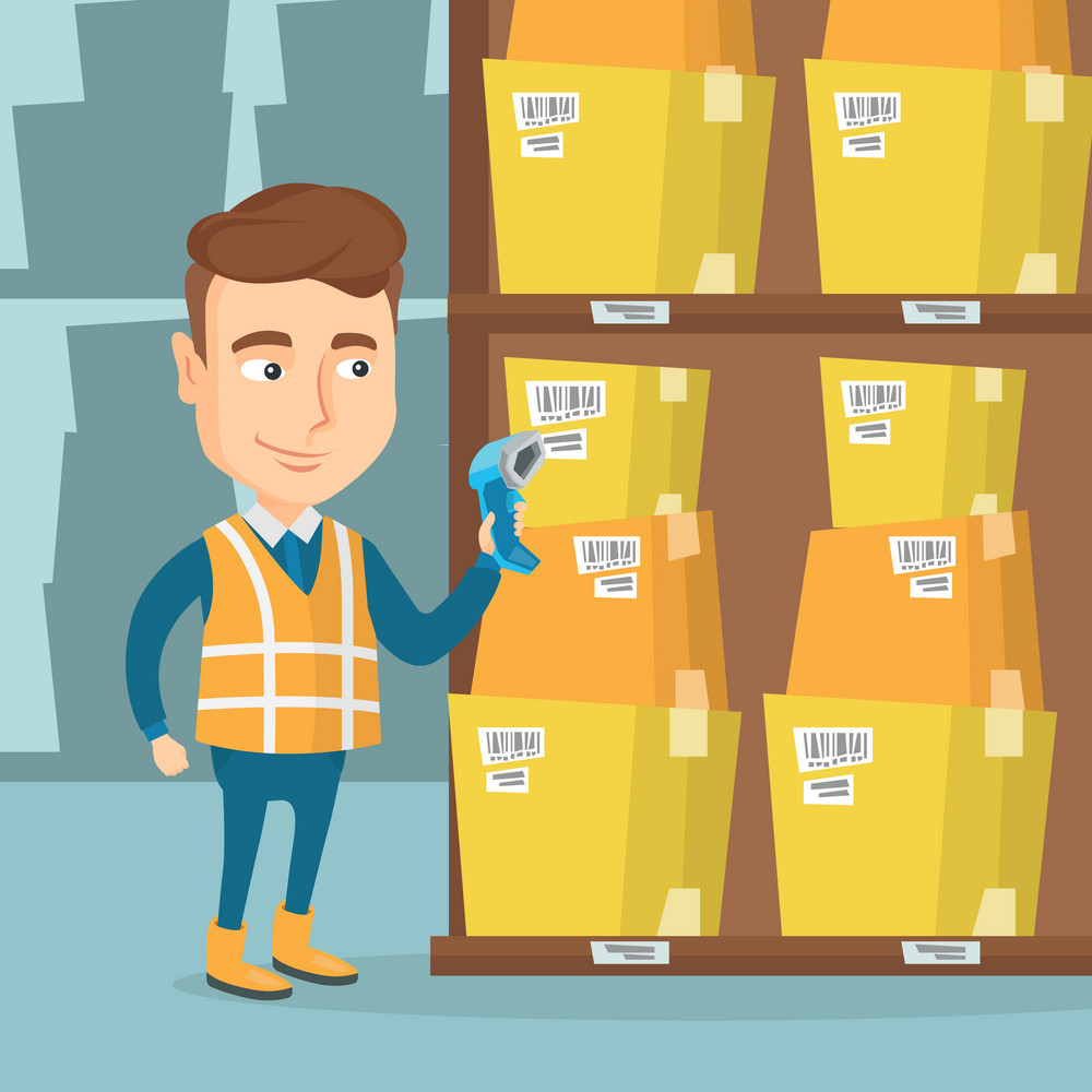 Caucasian warehouse worker working with a scanner. Warehouse worker scanning barcode on box. Warehouse worker checking barcode of boxes with a scanner. Vector flat design illustration. Square layout.