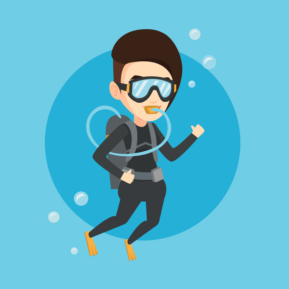 Caucasian woman diving with scuba and showing ok sign. Young woman in diving suit snorkeling and giving thumb up. Woman enjoying the dive. Vector flat design illustration. Square layout.