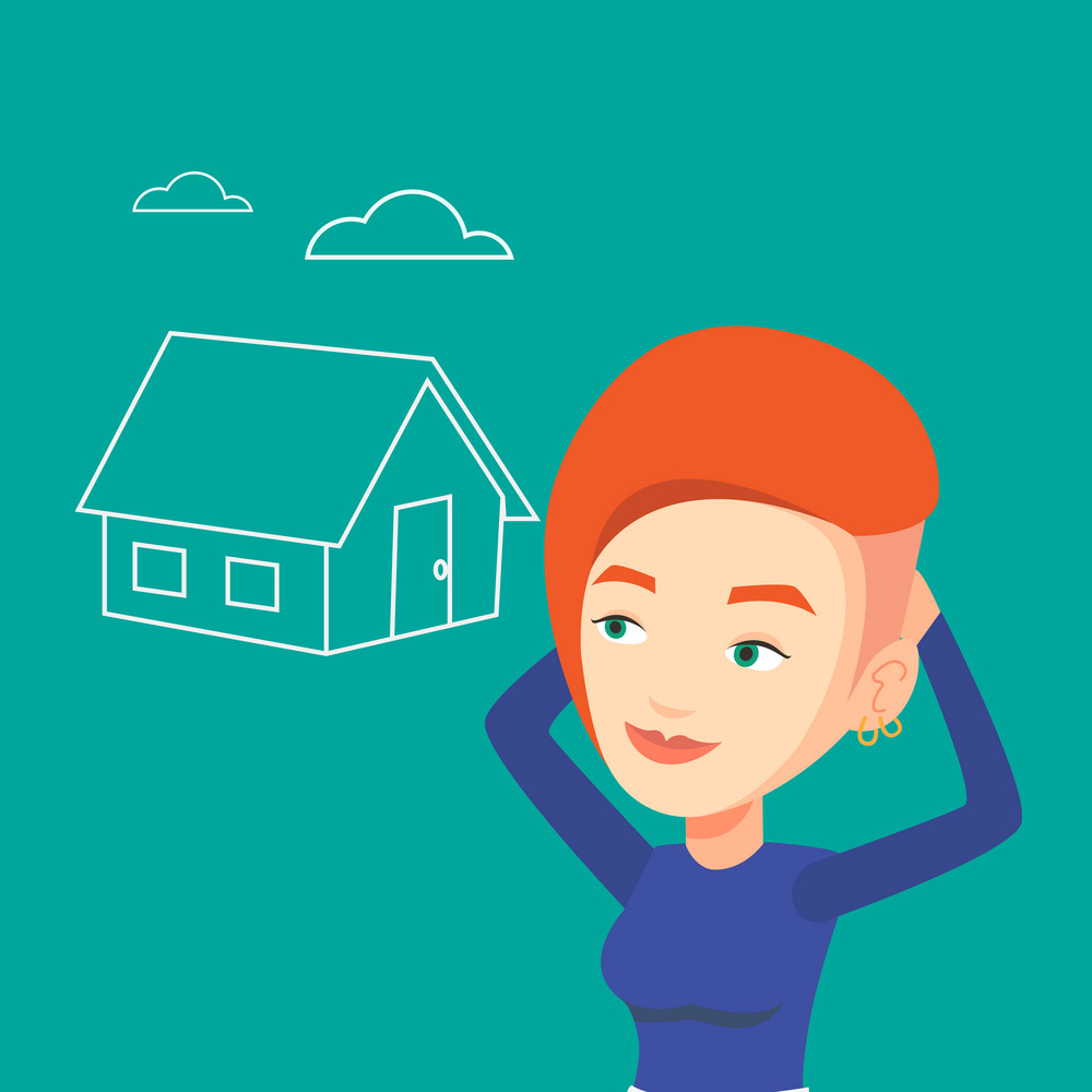 Caucasian woman dreaming about future life in a new house. Smiling woman planning her future purchase of house. Woman thinking about buying a house. Vector flat design illustration. Square layout.