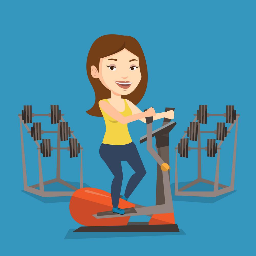 Caucasian woman exercising on elliptical trainer. Woman working out using elliptical trainer in the gym. Woman doing exercises on elliptical trainer. Vector flat design illustration. Square layout.