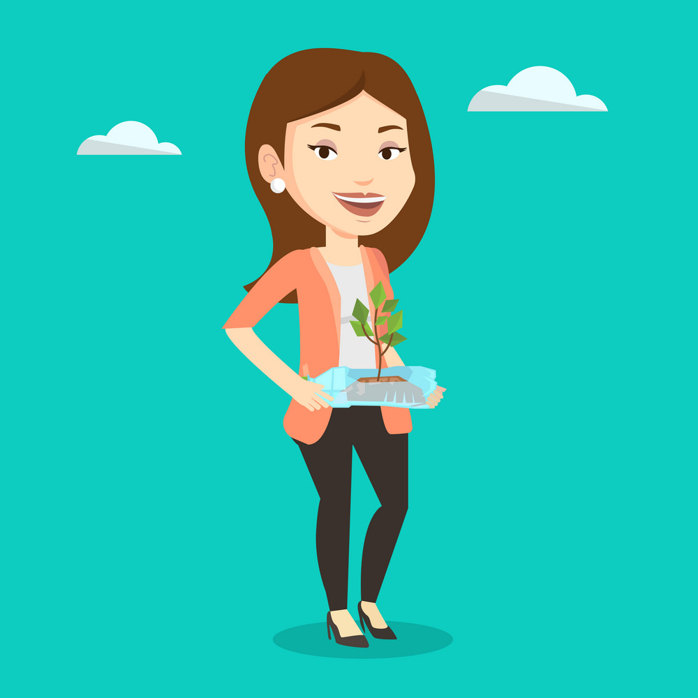 Caucasian woman holding in hands plastic bottle with plant growing inside. Woman holding plastic bottle used as plant pot. Plastic recycling concept. Vector flat design illustration. Square layout.