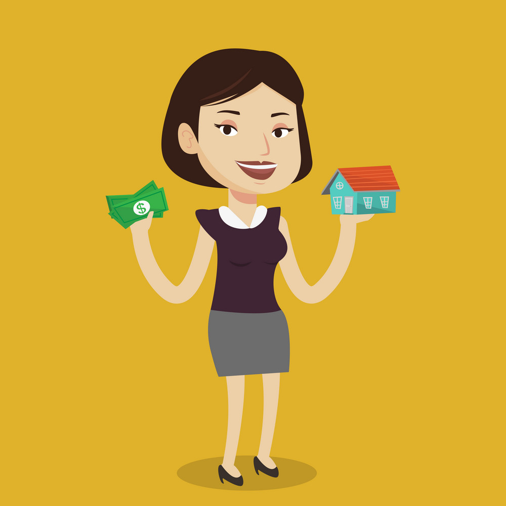 Caucasian woman holding money and model of house. Happy woman having loan for house. Woman got loan for buying a new house. Real estate loan concept. Vector flat design illustration. Square layout.