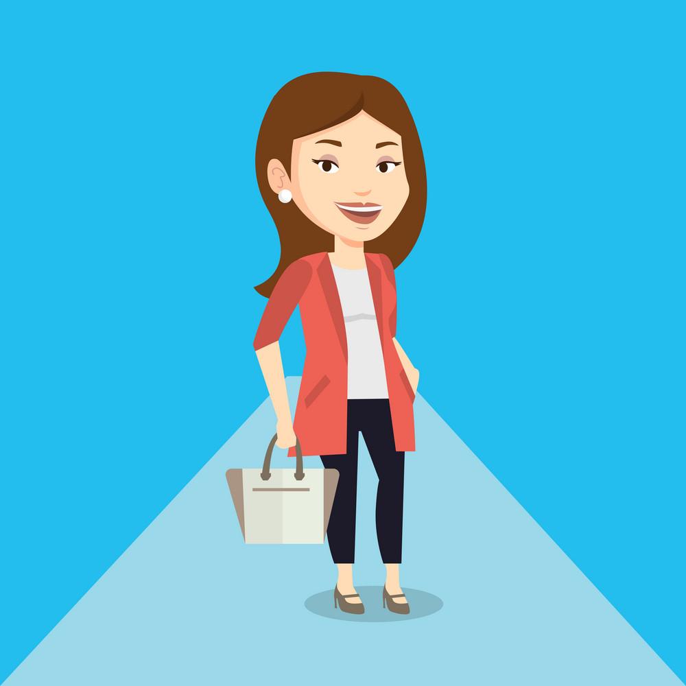 Caucasian woman posing on catwalk on fashion event. Smiling female model walking on catwalk during fashion week. Woman on catwalk during fashion show. Vector flat design illustration. Square layout.