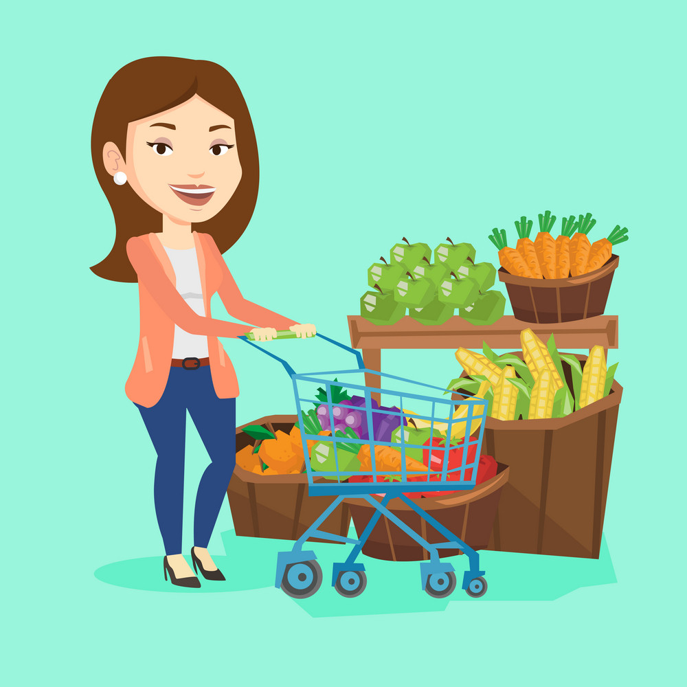 Caucasian woman pushing a supermarket cart with some healthy products in it. Customer shopping at supermarket with cart. Woman buying healthy products. Vector flat design illustration. Square layout.