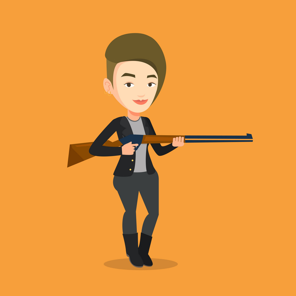 Caucasian woman shooting skeet with shotgun. Hunter ready to hunt with hunting rifle. Young woman aiming with a hunter gun. Hunter holding a long rifle. Vector flat design illustration. Square layout.