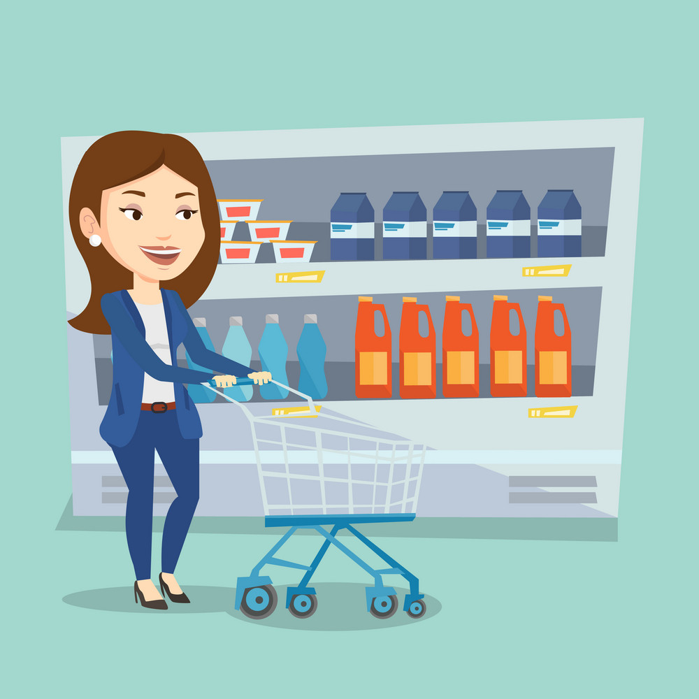 Caucasian woman walking with cart on aisle at supermarket. Young woman pushing an empty supermarket cart. Customer shopping at supermarket with cart. Vector flat design illustration. Square layout.