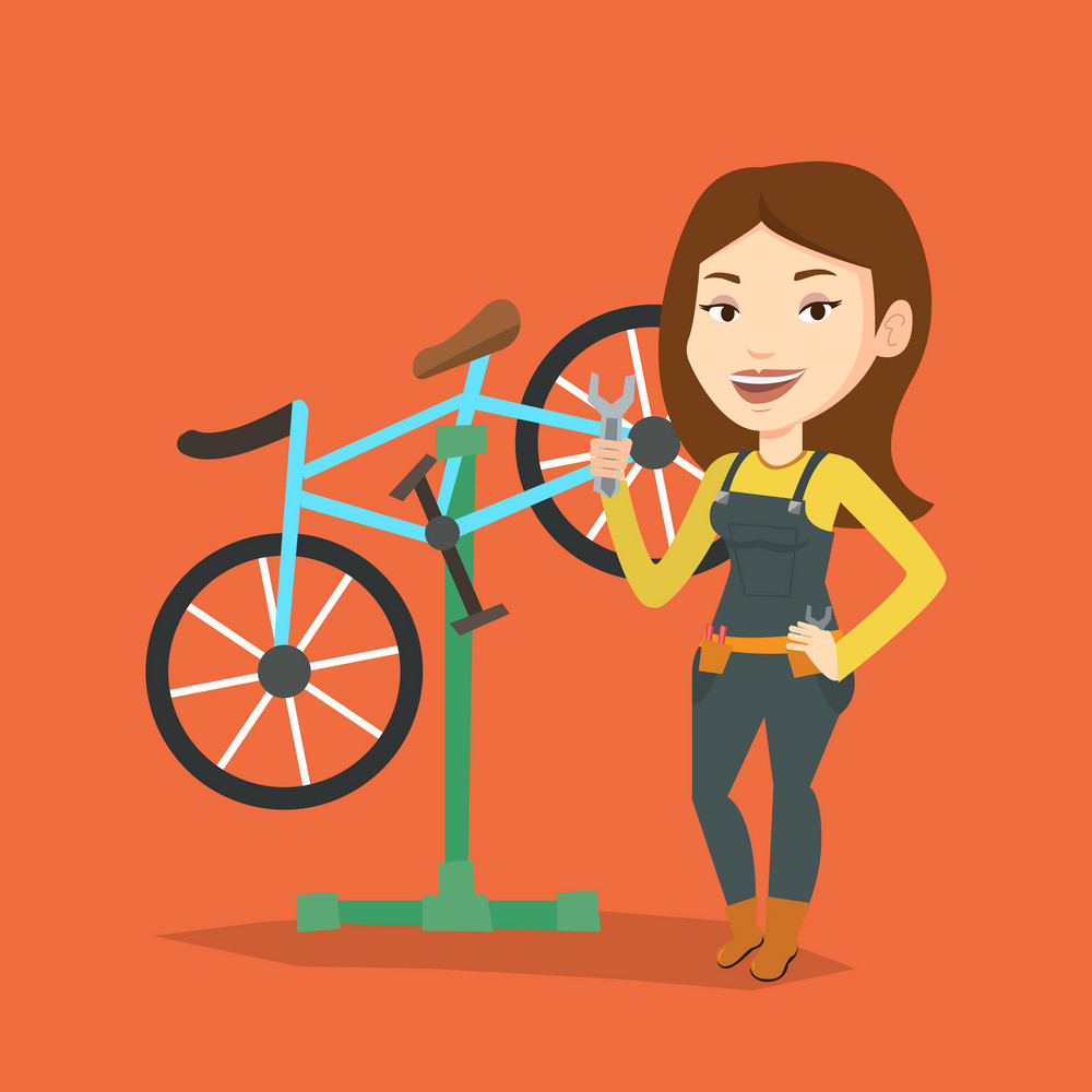 Caucasian woman working in bike workshop. Technician fixing bicycle in repair shop. Bicycle mechanic repairing bicycle. Woman installing spare part bike. Vector flat design illustration. Square layout
