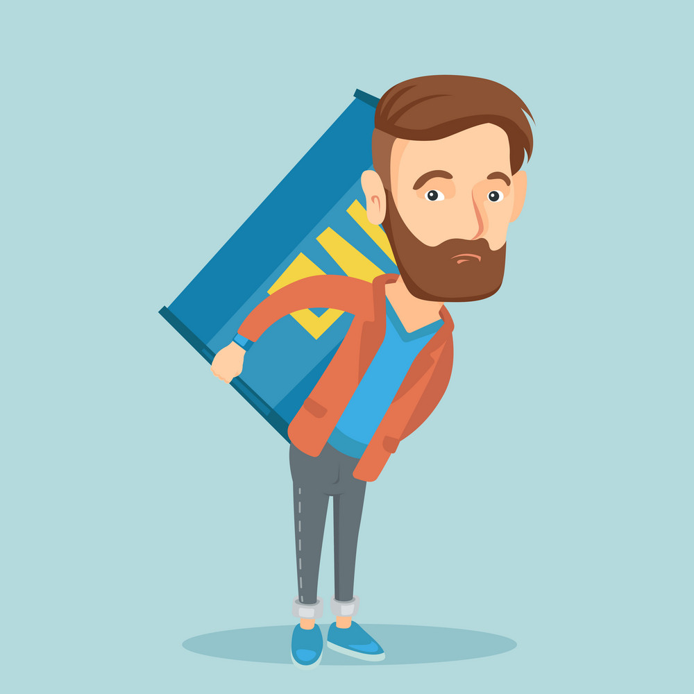 Caucasian worker of oil industry carrying barrel on his back. Hipster worker with beard walking with oil barrel on back. Man holding heavy oil barrel. Vector flat design illustration. Square layout.