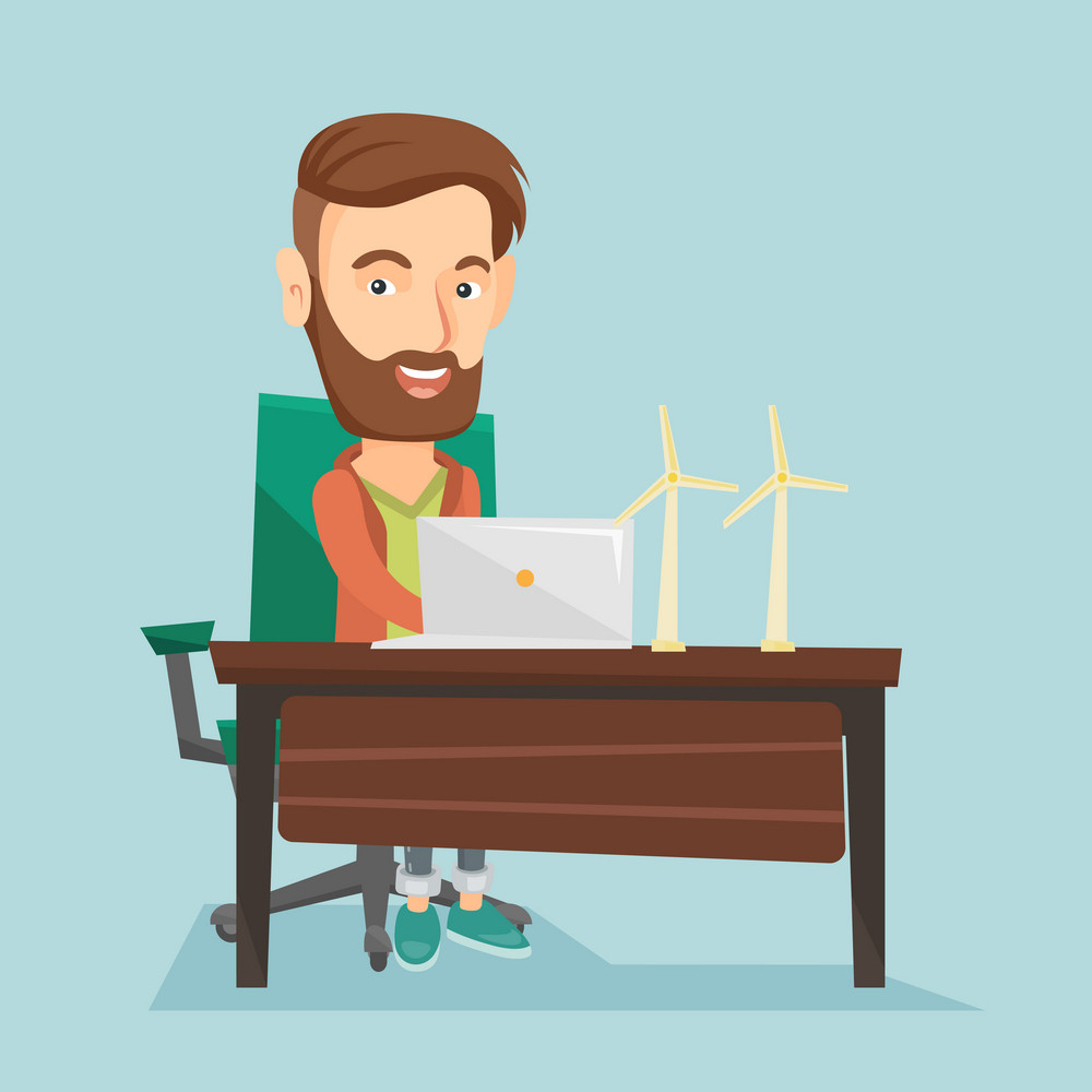Caucasian worker of wind farm working on a laptop. Hipster engineer with beard projecting wind turbine in office. Engineer with model of wind turbine. Vector flat design illustration. Square layout.