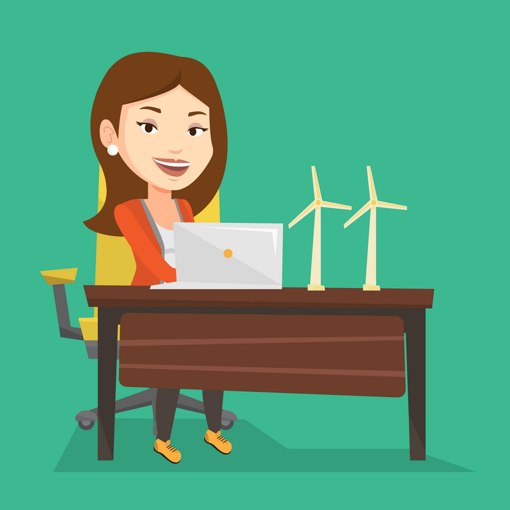 Caucasian worker of wind farm working on laptop. Engineer projecting wind turbine in office. Vector flat design illustration. Square layout.