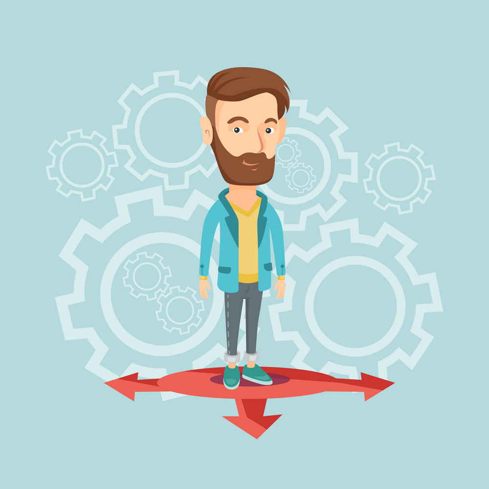 Caucasian young hipster man with the beard standing on three alternative career ways. Smiling man choosing career way. Concept of career choices. Vector flat design illustration. Square layout.