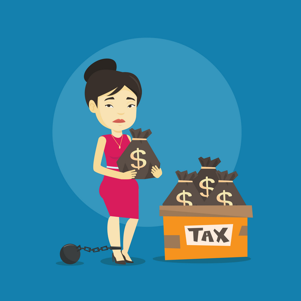 Chained to a ball asian taxpayer standing near bags with taxes. Upset taxpayer holding bag with dollar sign. Concept of tax time and taxpayer. Vector flat design illustration. Square layout.
