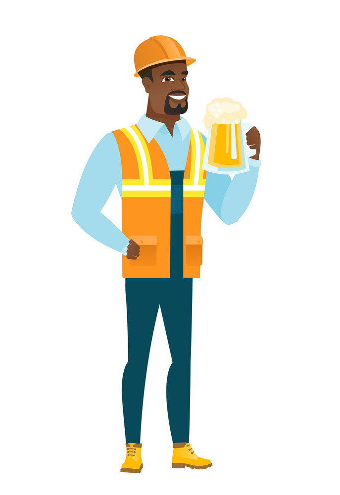 Cheerful african-american builder drinking beer. Full length of smiling builder with beer. Young happy builder holding mug of beer. Vector flat design illustration isolated on white background.