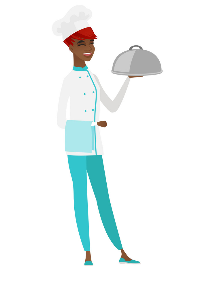 Cheerful african-american chef cook holding restaurant cloche and towel. Full length of young smiling chef cook with cloche and towel. Vector flat design illustration isolated on white background.