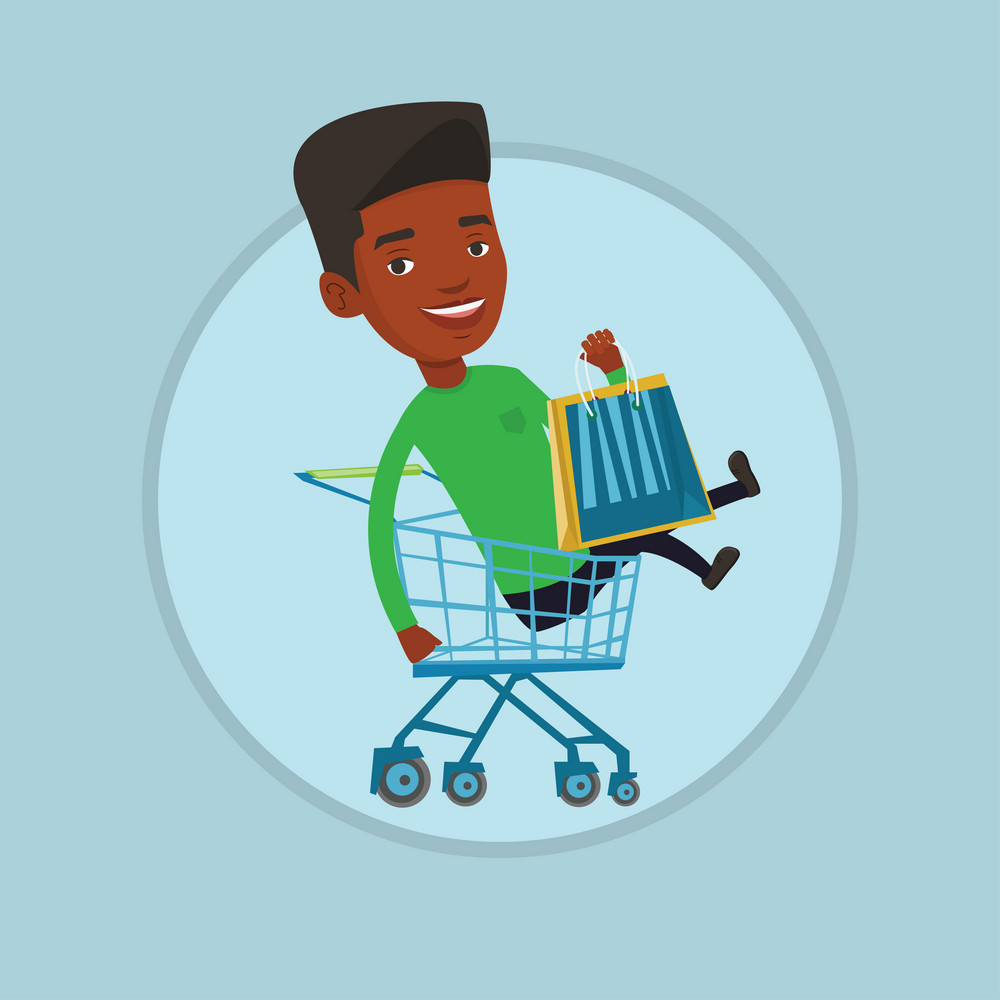 Cheerful african-american man with shopping bags sitting in shopping trolley. Customer having fun while riding by shopping trolley. Vector flat design illustration in the circle isolated on background